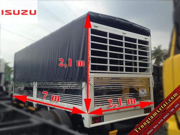 Thùng xe tải ISUZU F129 8T2 VM mui bạt tiêu chuẩn-trungtamxetai.com