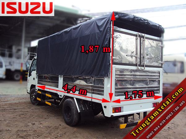 Kích thước thùng xe Isuzu 2 tấn QKR55H-trungtamxetai.com