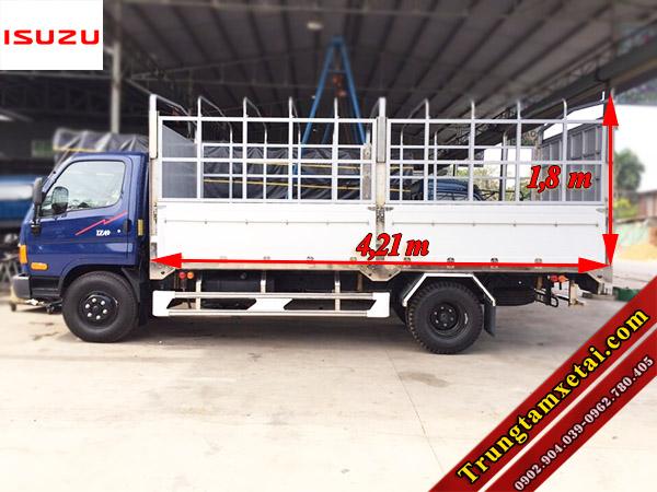 Kích thước lòng thùng xe tải Dothanh IZ49 2T4 động cơ ISUZU-trungtamxetai.com