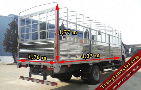 kích thước thùng xe tải JAC 3T45 HFC 1042K2 động cơ ISUZU-trungtamxetai.com