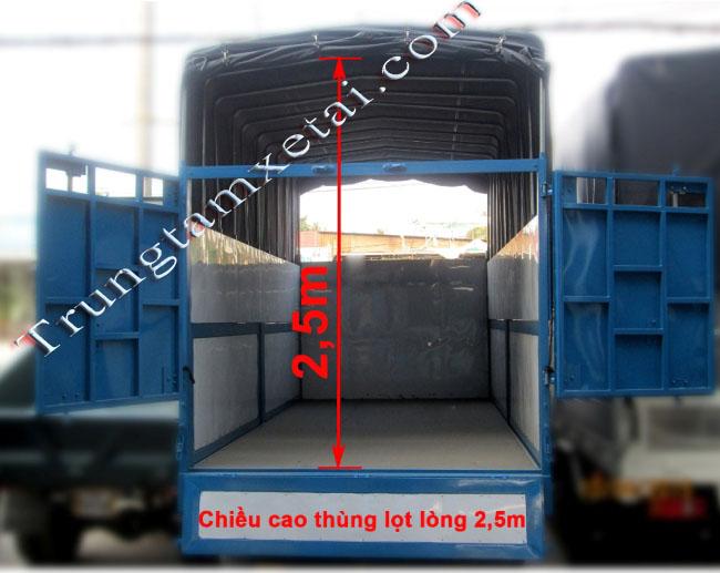 Chiều cao thùng xe tải veam bull 2t5 - trungtamxetai.com