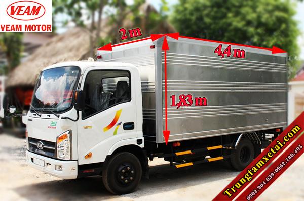 Kích thước thùng xe tải VEAM VT255 2T49-trungtamxetai.com