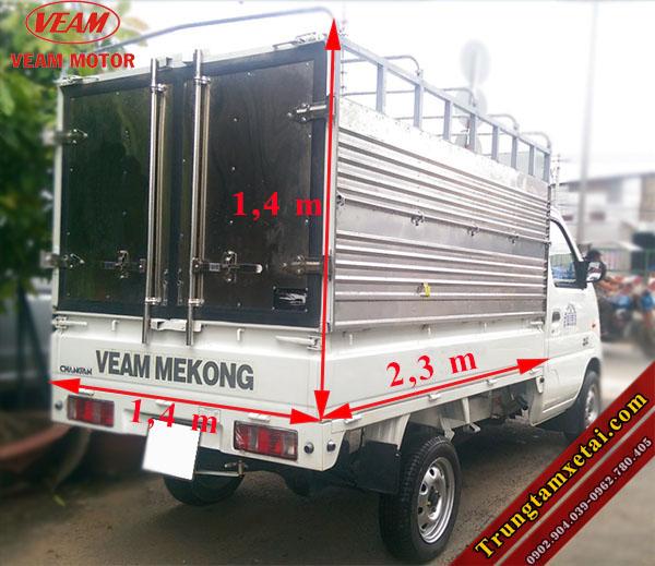 Kích thước lòng thùng hàng Vream Star 740Kg mui bạt-trungtamxetai.com