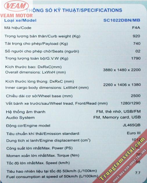 Thông số kt động cơ Changan Veam Star chở gia súc-trungtamxetai.com