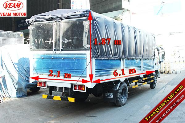 Kích thước lòng thùng xe tải Veam VT751 7T2-trungtamxetai.com